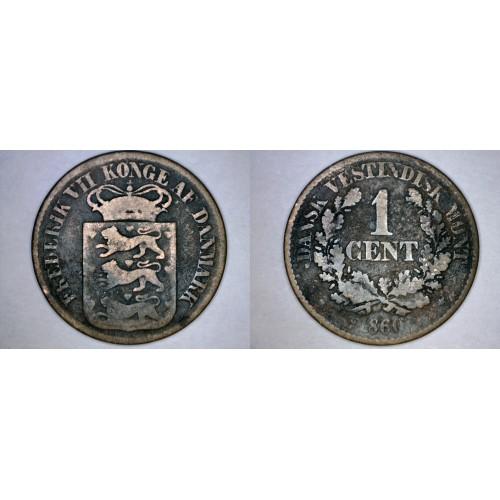 1860 Danish West Indies 1 Cent World Coin - Virgin Islands