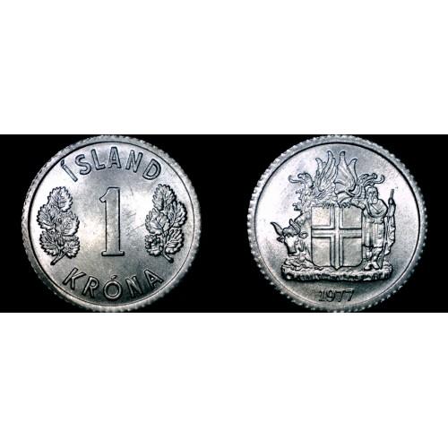 1977 Icelandic 1 Krona World Coin - Iceland
