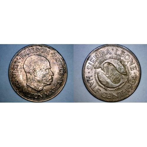 1964 Sierra Leone 1/2 Half Cent World Coin