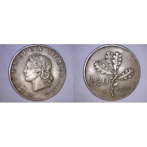 1959-R Italian 20 Lire World Coin - Italy