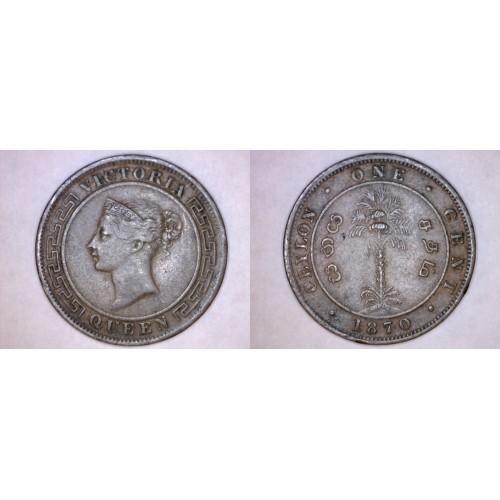 1870 Ceylon Sri Lanka 1 Cent World Coin