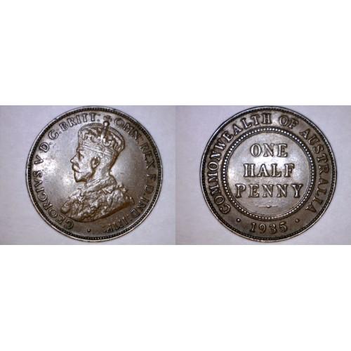 1935 Australian Half (1/2) Penny World Coin - Australia
