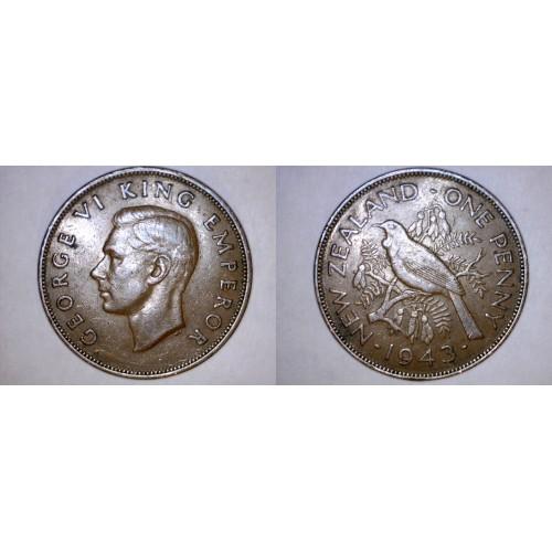1943 New Zealand 1 Penny World Coin - Tui Bird
