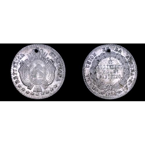 1864-PTS FP Bolivian 1/10 Boliviano World Silver Coin - Bolivia - Holed