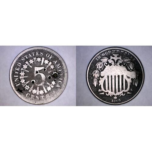 1866 Shield Nickel - Rays - Hole Marked