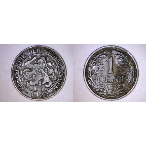 1925 Netherlands 1 Cent World Coin