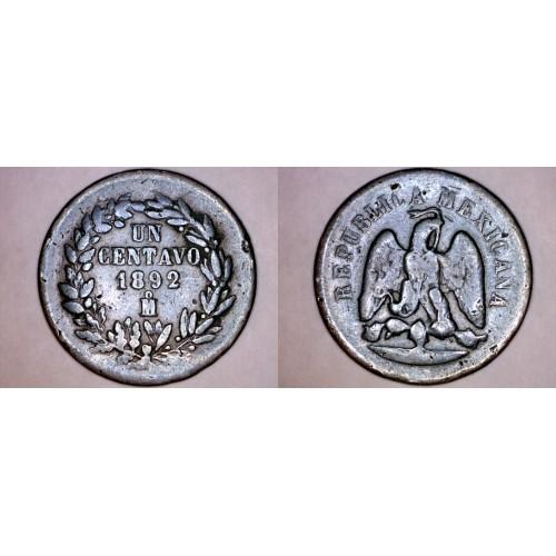 1892-Mo Mexican 1 Centavo World Coin - Mexico