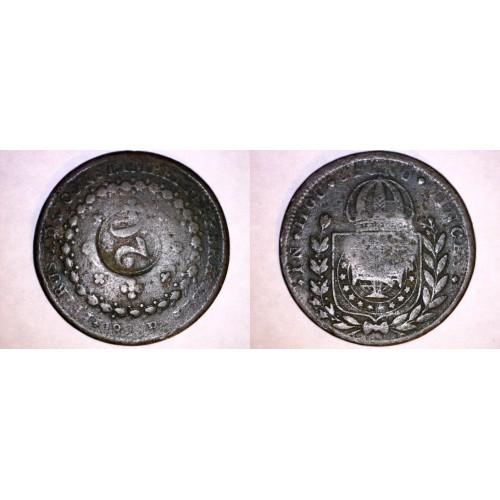 1820-23B Brazilian 20 Reis Counterstruck on 40 Reis World Coin - Brazil
