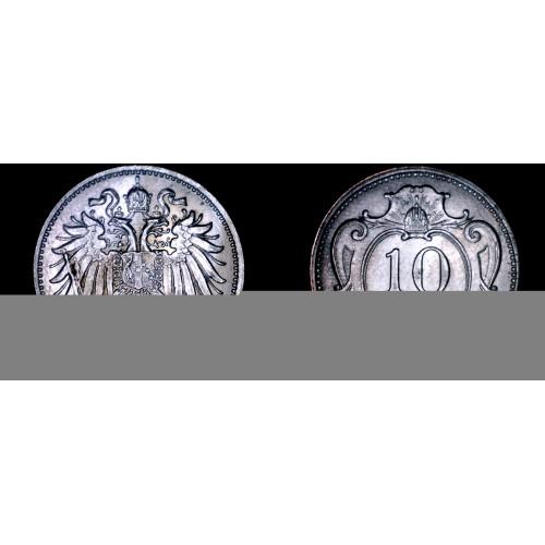 1894 Austrian 10 Heller World Coin - Austria