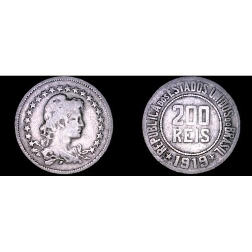 1919 Brazilian 200 Reis World Coin - Brazil