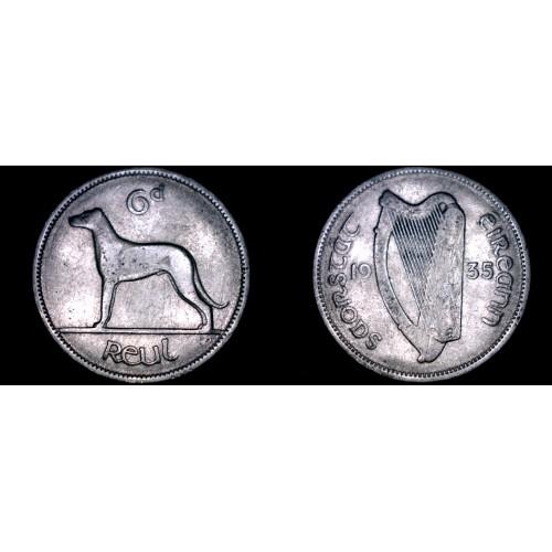 1935 Irish 6  Pence World Coin - Ireland - Wolfhound