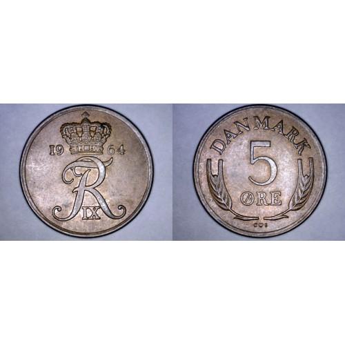 1964 Danish 5 Ore World Coin - Denmark