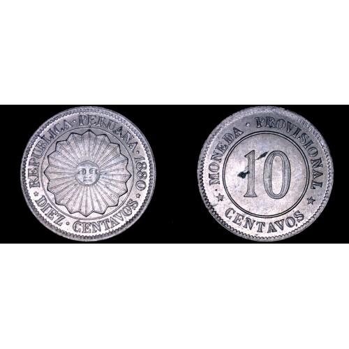 1880 South Peruvian 10 Centavo World Coin - South Peru
