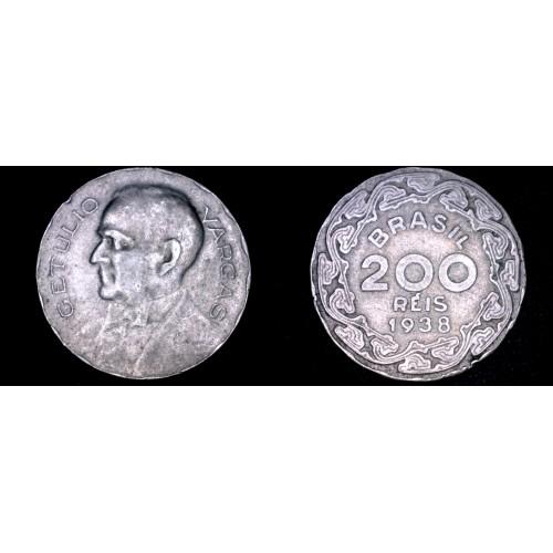 1938 Brazilian 200 Reis World Coin - Brazil