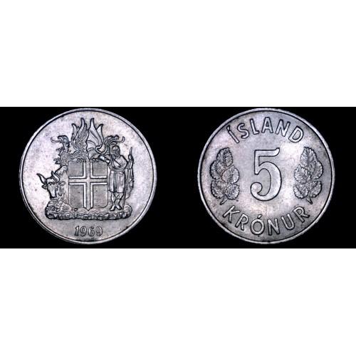 1969 Icelandic 5 Kronur World Coin - Iceland