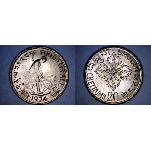 1974 Bhutan 20 Chetrum World Coin
