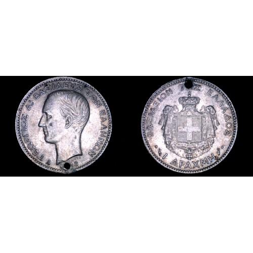1883-A Greek 1 Drachma World Silver Coin - Greece - Holed
