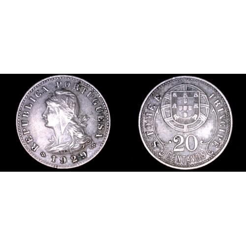 1929 Saint Thomas & Prince Island 20 Centavo World Coin