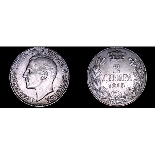1925 Yugoslavia 2 Dinara World Coin