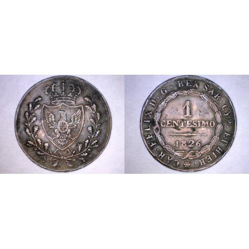 1826-L Italian States Sardinia 1 Centesimo World Coin
