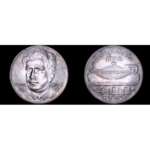 1938 Brazilian 400 Reis World Coin - Brazil