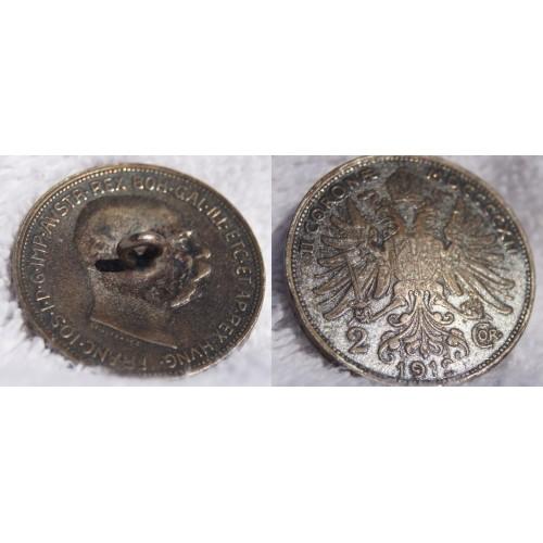 1912 Austrian 2 Corona World Silver Coin - Austria - Button