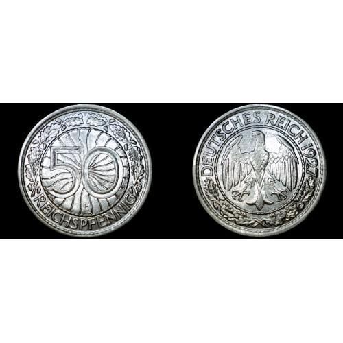 1927-E Weimar Germany 50 Pfennig World Coin