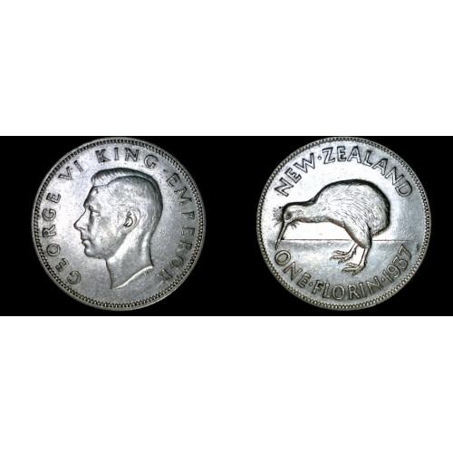 1937 New Zealand 1 Florin World Silver Coin
