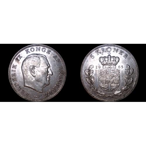1963 Danish 5 Kroner World Coin - Denmark