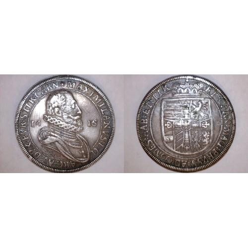 1616-co Austrian Hall Thaler World Silver Coin - Austria - Mathias II