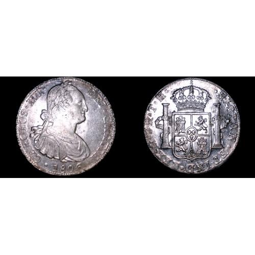 1806 Mo-TH Mexican 8 Reales World Silver Coin - Charles IIII - Pillar Dollar