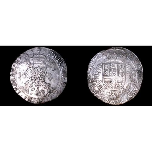 1628 Spanish Netherlands Brabant 1 Patagon World Silver Coin - Philip IV