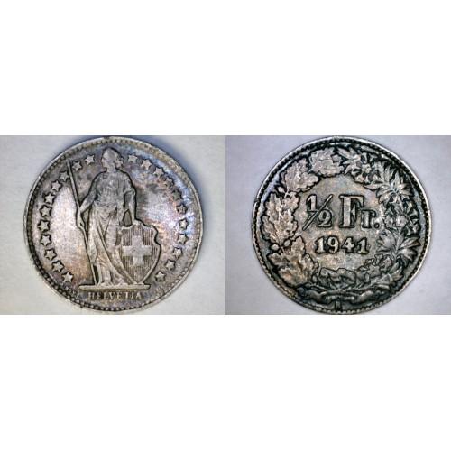 1941-B Swiss Half Franc World Silver Coin - Switzerland