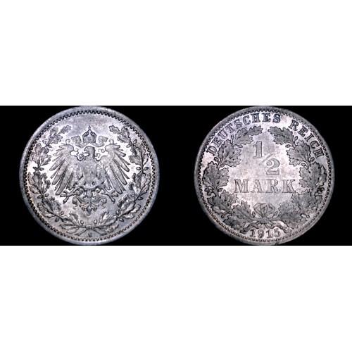 1915 A German Empire Half (1/2) Mark World Silver Coin -  Germany