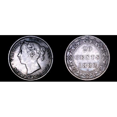 1882-H Newfoundland 20 Cent World Silver Coin - Canada
