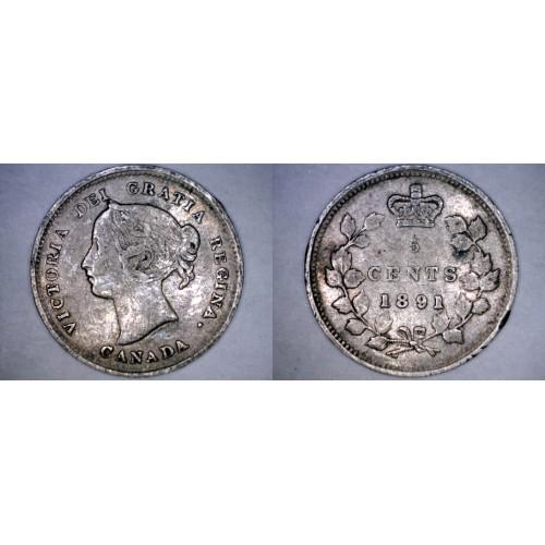 1891 Canada 5 Cent World Silver Coin - Canada - Victoria