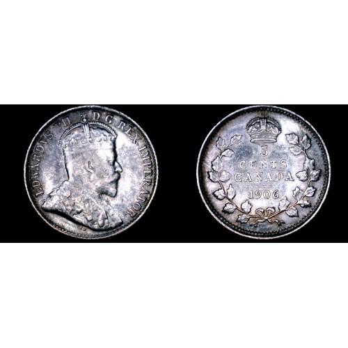1906 Canada 5 Cent World Silver Coin - Canada - Edward VII