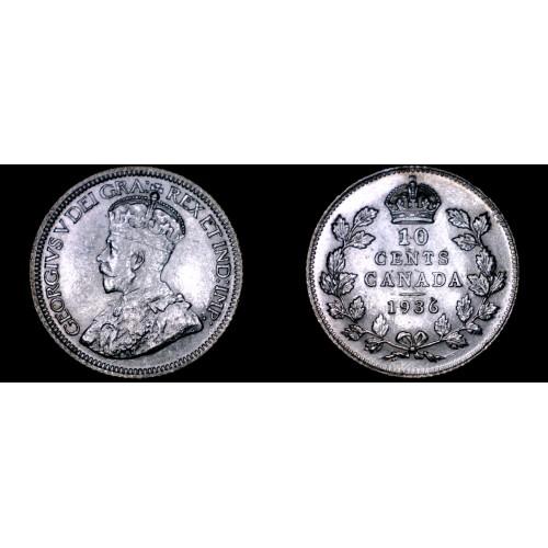1936 Canada 10 Cent World Silver Coin - Canada - George V