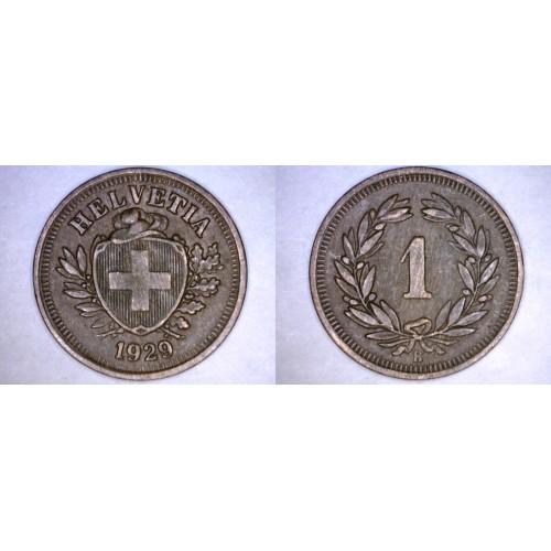 1929-B Swiss 1 Rappen World Coin - Switzerland