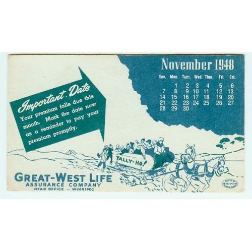 CAN Winnipeg Ink Blotter Advertising Great-West Life Assurance Company blo~21