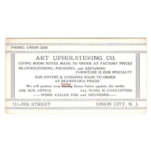 NJ Union City Ink Blotter Advertising Art Upholstering Co, 511 39th Street~5