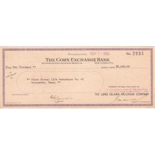 New York New York City Cancelled Check The Corn Exchange Bank Pennsylvania~69