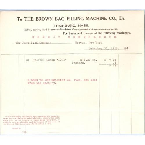 MA Fitchburg Letterhead / Billhead The Brown Bag Filling Machine Co., Dr. ~22