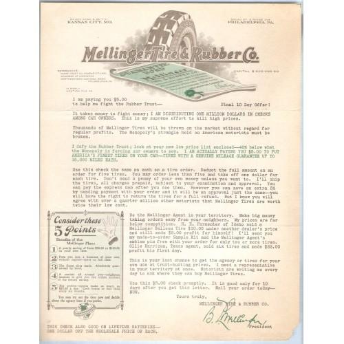 MO Kansas City Letterhead / Billhead Mellinger Tire & Rubber Co. McGee Roa~47