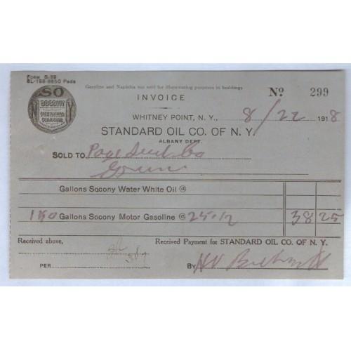 New York Whitney Point Letterhead / Billhead Standard Oil Co. Of N.Y. Alba~51