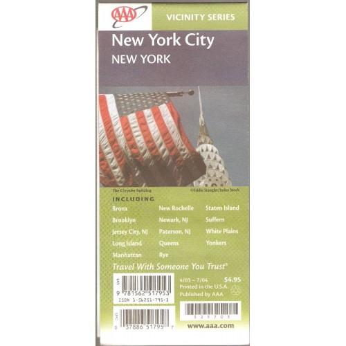 New York New York City Road Map Includes Bronx, Brooklyn, Jersy City NJ, L~3