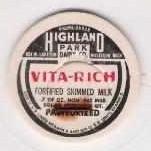 MI Muskegon Milk Bottle Cap Name/Subject: Highland Park Dairy Co. Vita-Ric~121
