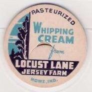 IN Howe Milk Bottle Cap Name/Subject: Locust Lane Jersey Farm Whipping Cre~169
