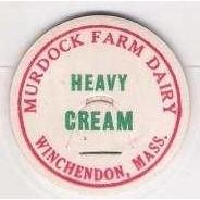 MA Winchendon Milk Bottle Cap Name/Subject: Murdock Farm Dairy Heavy Cream~195
