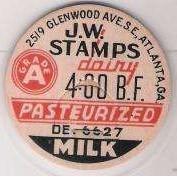 GA Atlanta Milk Bottle Cap Name/Subject: J.W. Stamps Grade A Milk~264